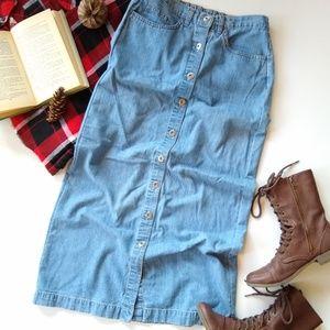 Vintage • long denim button front skirt